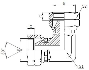 BSP жіночий локоть адаптер малюнок