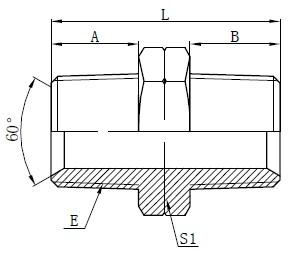 Гідравлічні чоловічі адаптери NPT Малюнок